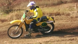 Lissa on a '81 Suzuki PE400 at a vintage ride day from October '15